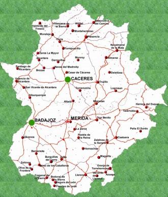 anglia részletes térkép Extremadura tartomány Spanyolország anglia részletes térkép