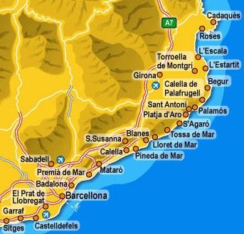 costa brava térkép Costa Brava teljes partszakasz térkép   Szállás és látnivaló  costa brava térkép