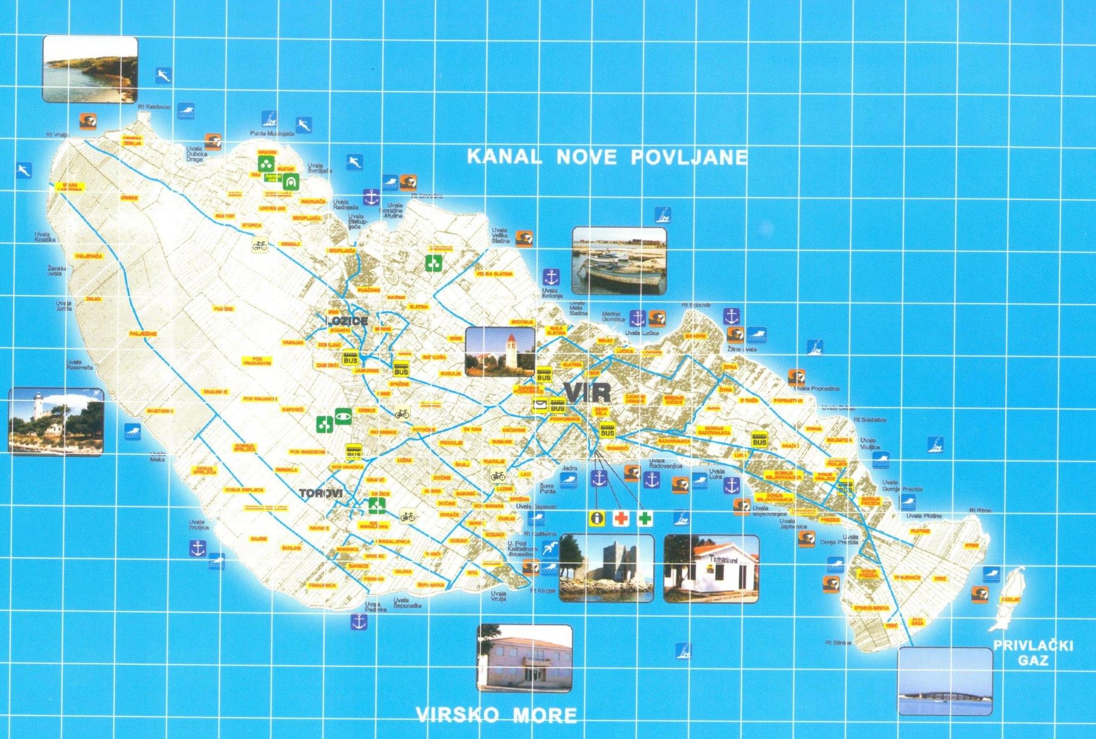 vir sziget térkép Vir sziget térképe   Szállás és látnivaló, nyaralás és utazás  vir sziget térkép