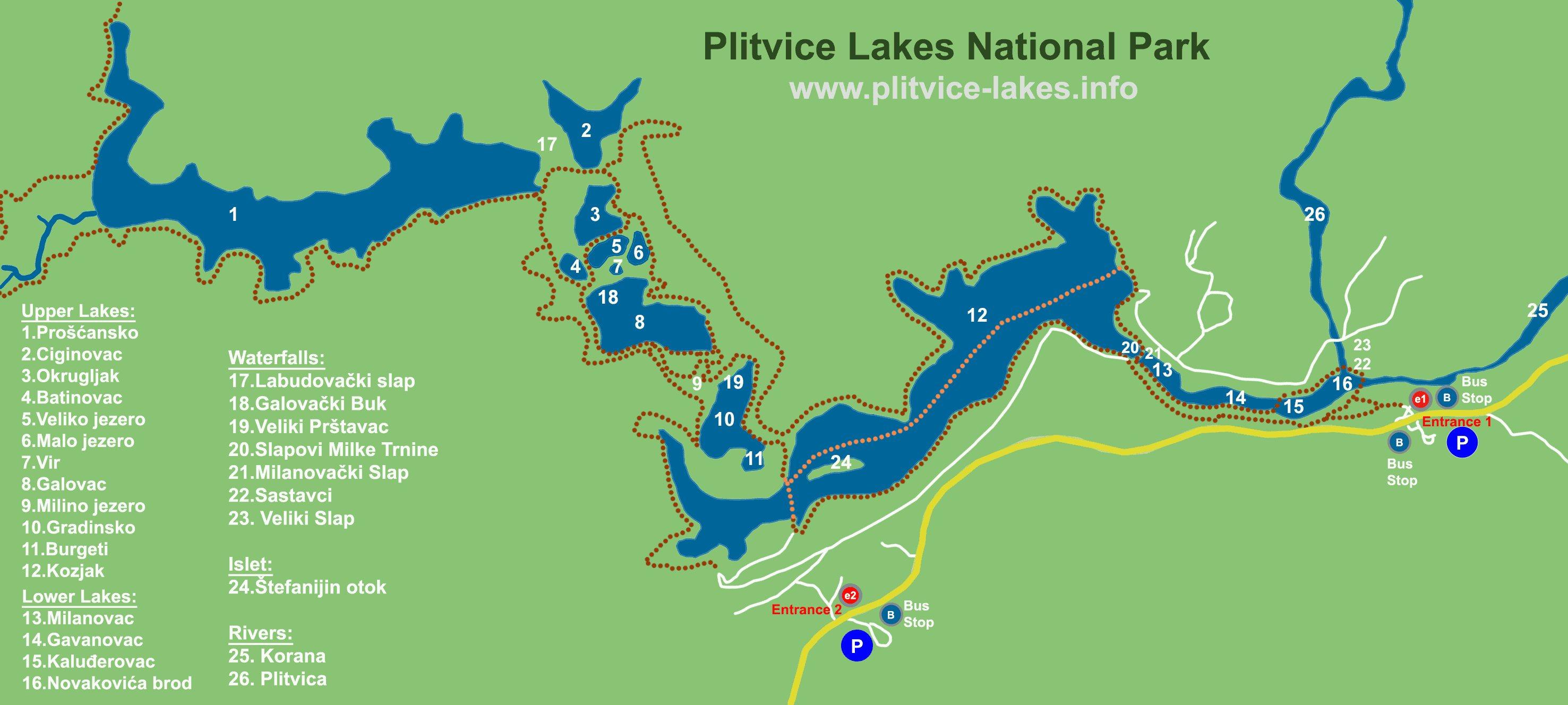 plitvicei tavak térkép Plitvicei tavak térképe   Szállás és látnivaló, nyaralás és utazás